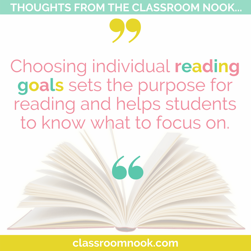 Choosing individual reading goals sets the purpose for reading and helps students to know what to focus on.