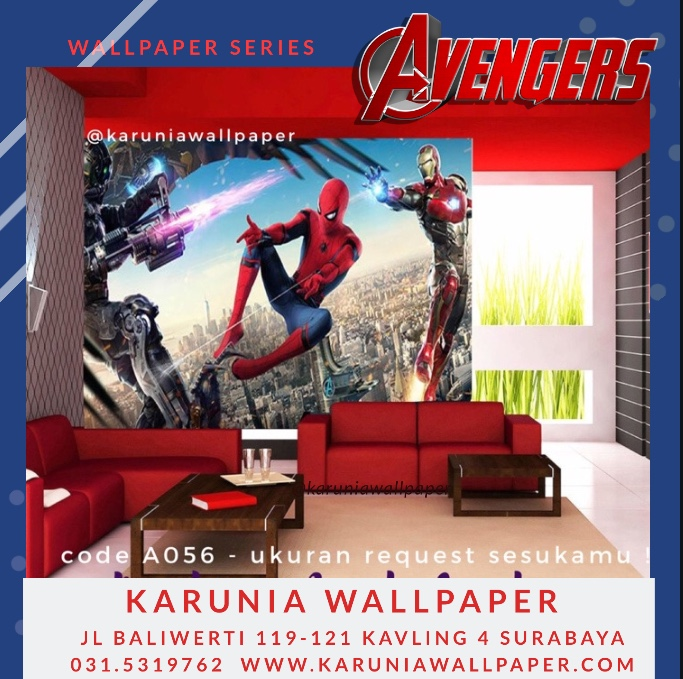 jual wallpaper spiderman ironman kamar anak