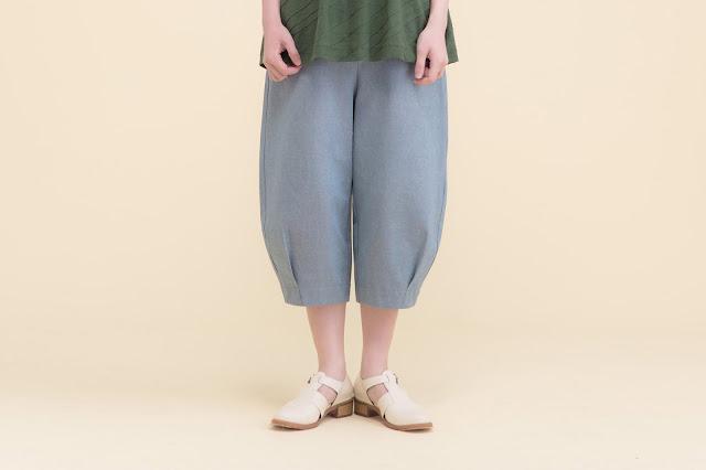 造型口袋八分縮口寬管褲