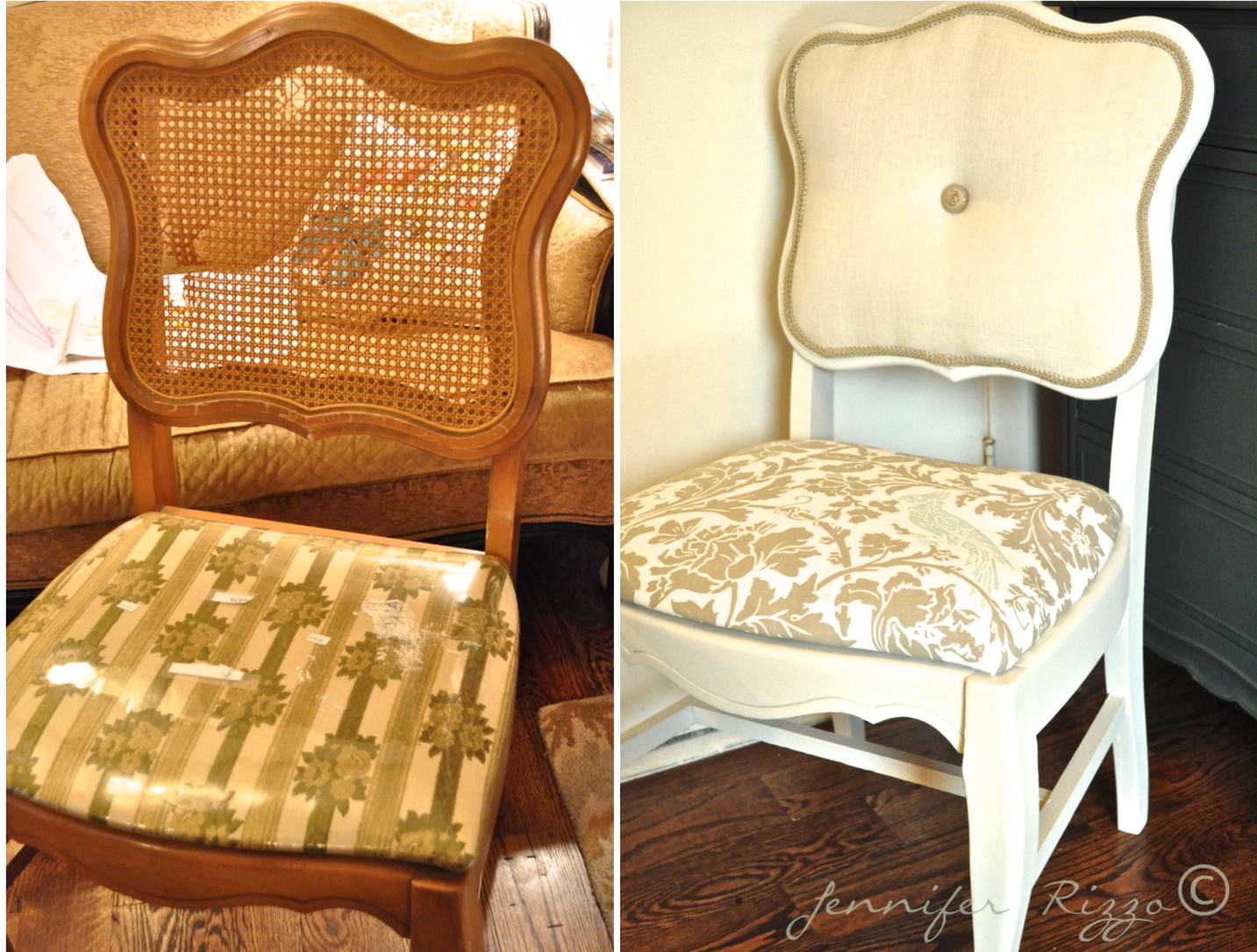 How To Replace Cane Back Chair With Fabric Black Office Chairs Arms Modernizing An Old Tufting Jennifer Rizzo The In Of My Van They Cracked All Over I Decided It Would Be Easier Make Upholstered Piece Instead Trying Re