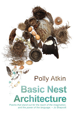 "White cover showing a photograph of the carefully arranged detritus of various nests, including eggs and wings, colourful. A quote is at the bottom of the cover from Jo Shapcott that reads: ""Poems that stand out for the reach of the imagination, and the power of language."""