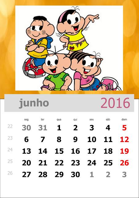 Calendário Turma da Mônica 2016 Junho