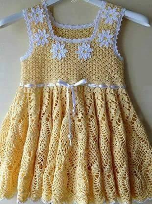 Patrón #1669:Vestido Niña a Ganchillo