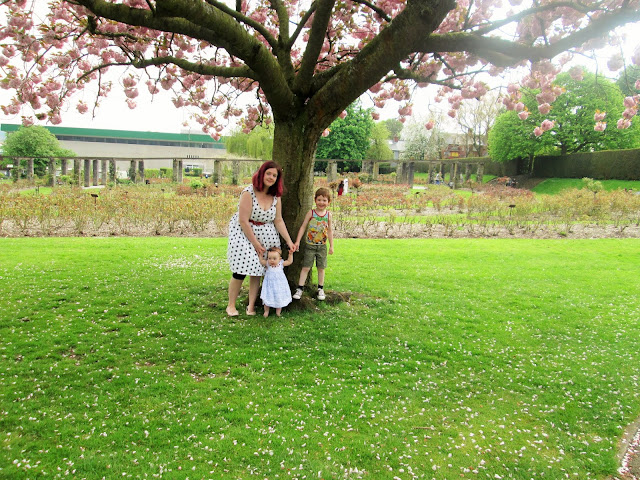 Standing under the blossom tree in spring with D and Baby S ( Mummy and Me Photo for May)