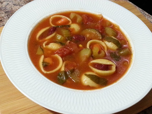 Minestrone Soup with Shell Noodles