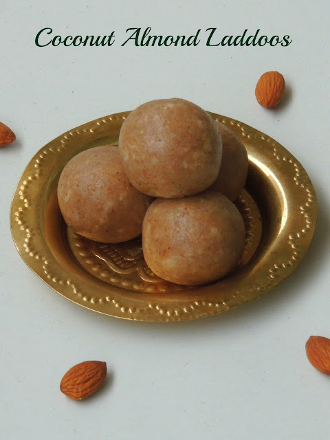 Coconut almond laddoos, Coconut laddus with almonds