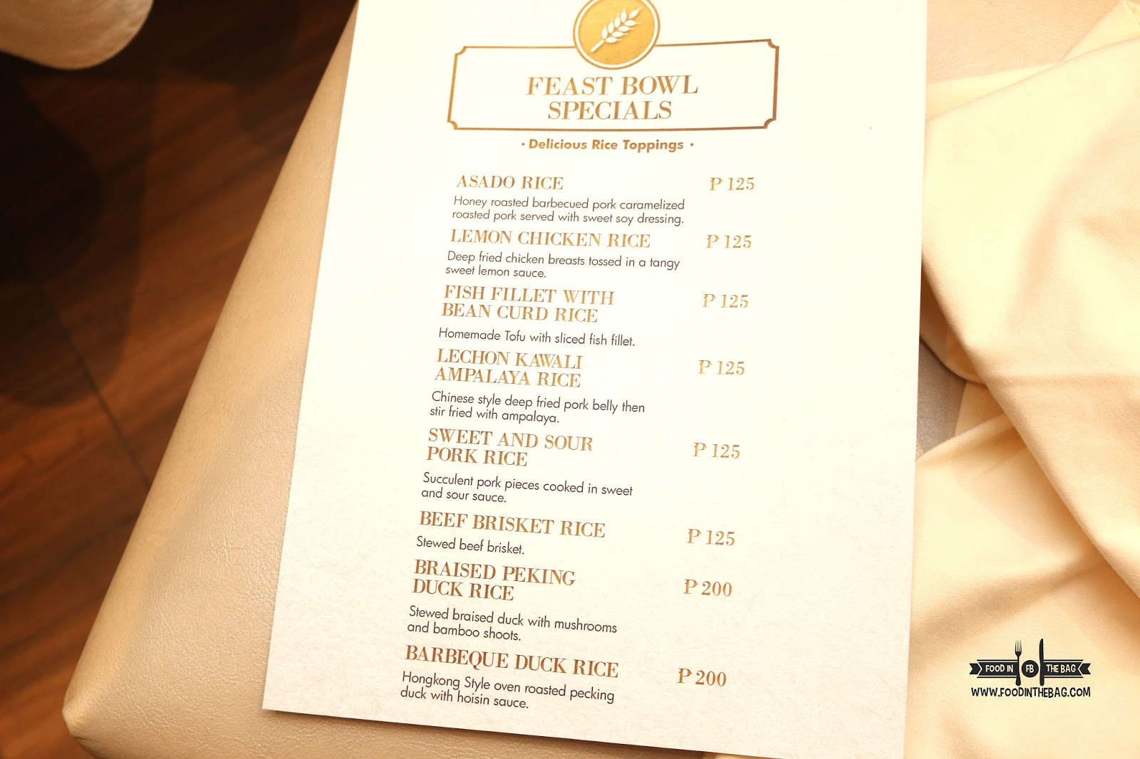 Fridays Lunch Special Menu
