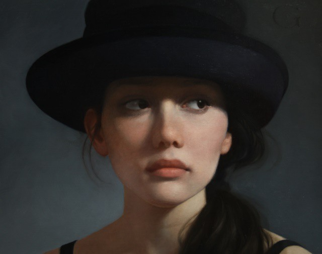 01-Black-Hat-II-David-Gray-Lost-in-Thought-Realistic-Oil-Paintings-www-designstack-co