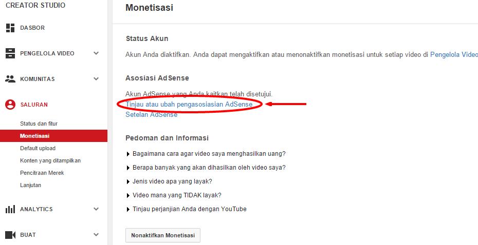 kita telah mempelajari bagaimana cara memasang iklan di Youtube Cara Mengaitkan Akun Adsense dengan Youtube