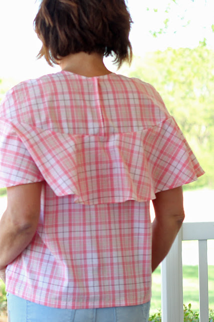 McCall's 7573 in a plaid fabric from Joann's- back view