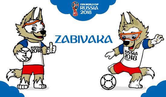 Zabivaka con el balón bajo el brazo haciendo el signo de OK y chutando la pelota, más el logo de Russia 2018.