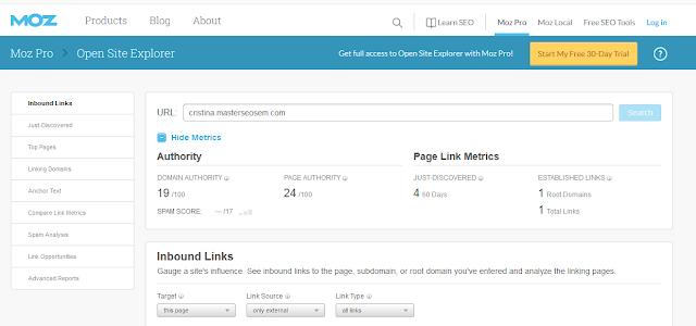 Con la herramienta Open Site Explorer puedes analizar un dominio y comparar con el tuyo