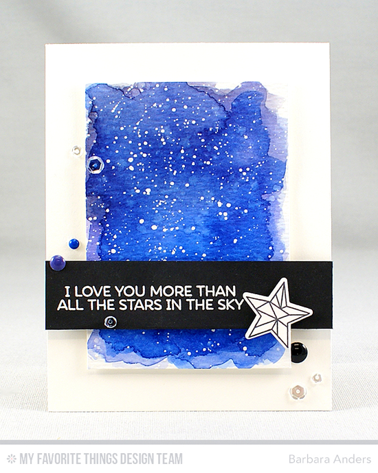 Handmade card from Barbara Anders featuring Lisa Johnson Designs Stars Above stamp set and Die-namics #mftstamps