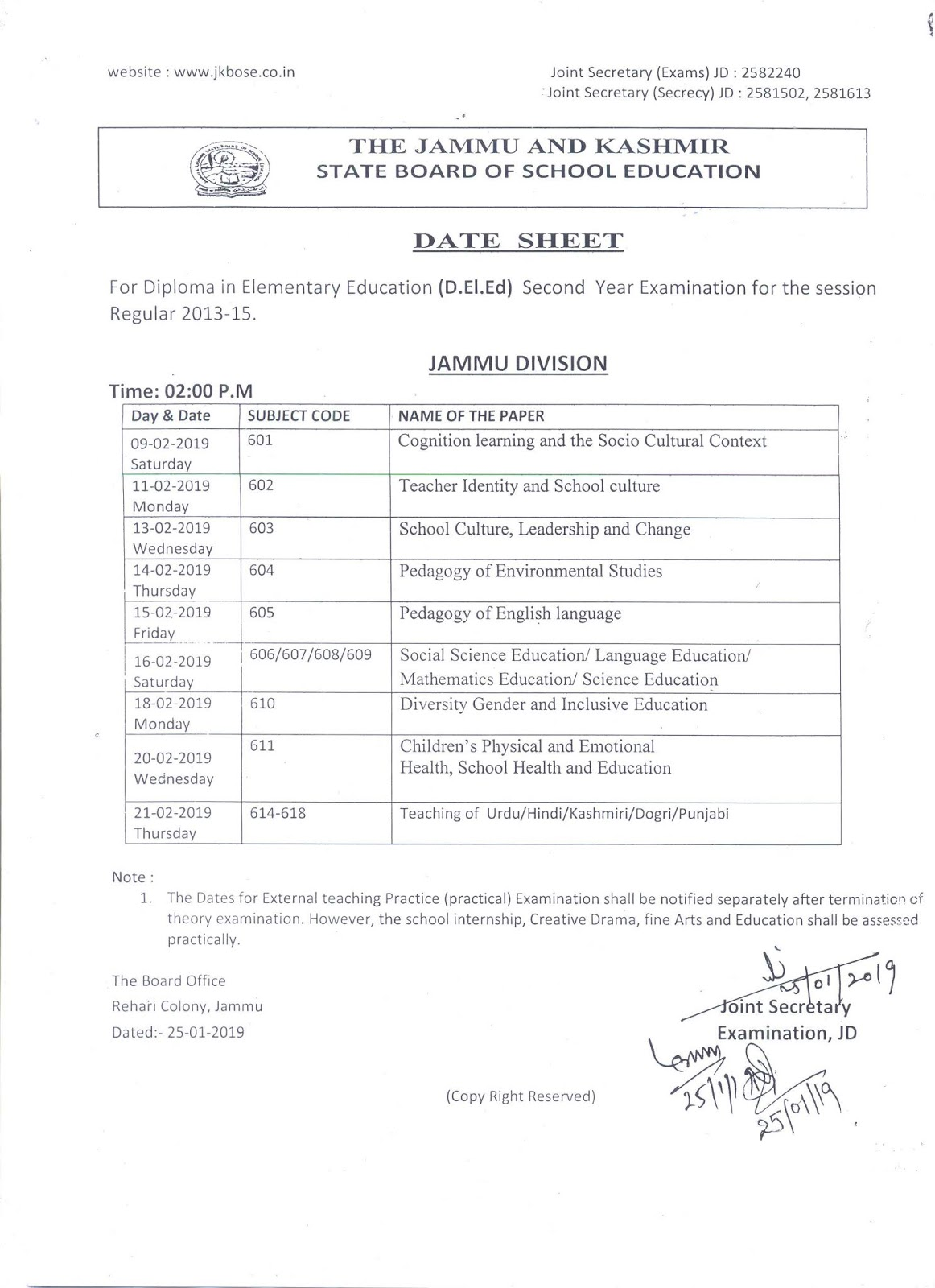 JKBOSE Date Sheet for D.El.Ed Second Year Exam for Session Regular 2013-15