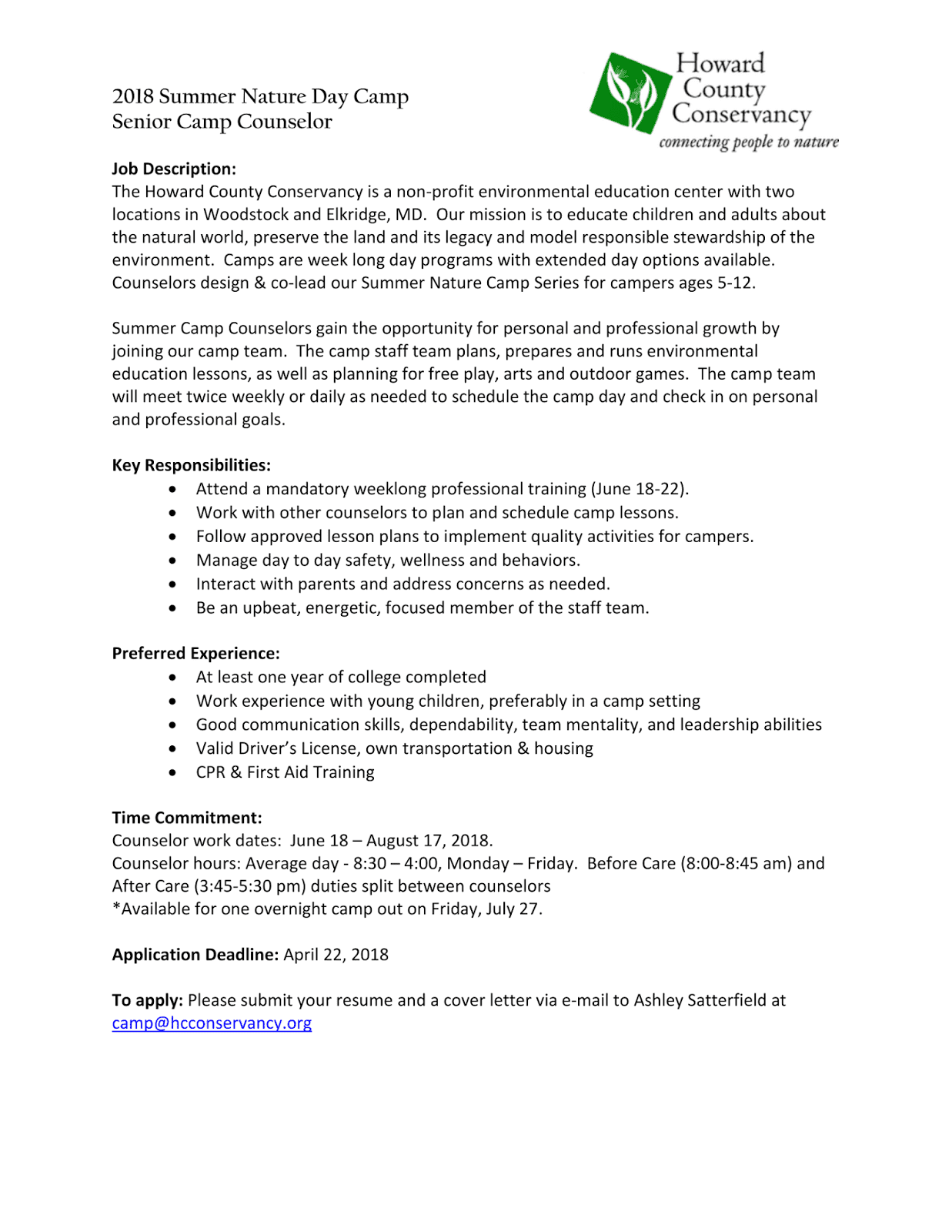 ENST Internship & Job News: Summer Nature Day Camp Counselor ...