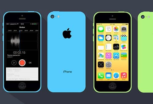 iPhone 5C Flat PSD Design