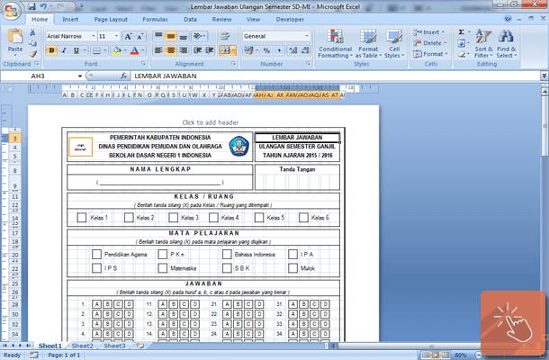 Lembar Jawaban Ulangan Semester SD MI Format Microsoft Excel