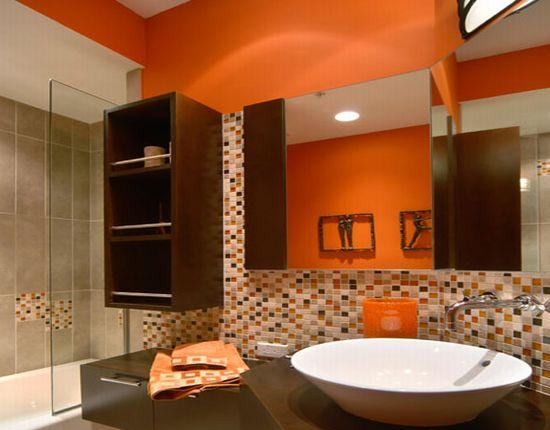 modern house: orange bathroom in modern designs