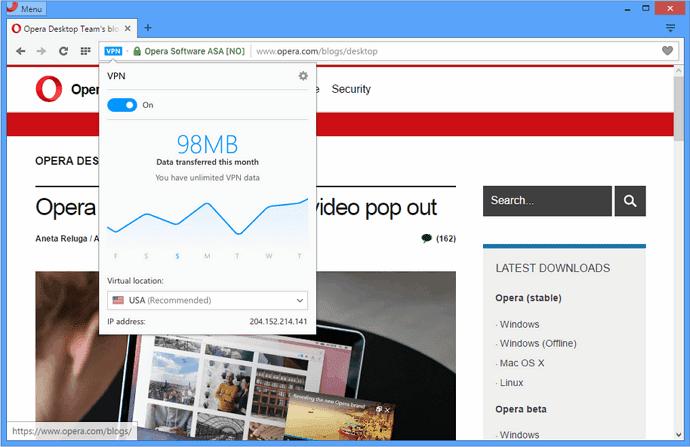 Browser Opera Dilengkapi Fitur VPN Gratis