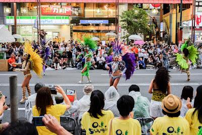 Feathered passistas dance at 2016 Asakusa Samba Carnival, Tokyo, Japan.