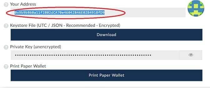 Dirección personal My Ether Wallet para guardar Substratum SUB