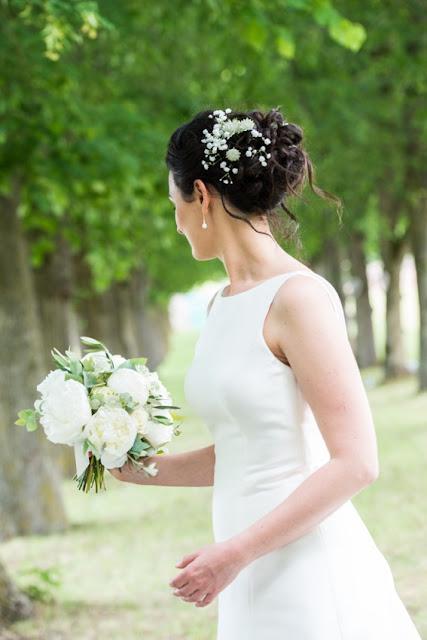 fleuriste mariage Lyon, Rhône, bouquet de mariée blanc, pivoines