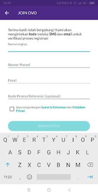 Pengisian Nama Lengkap, Nomor Ponsel, Email di ovo