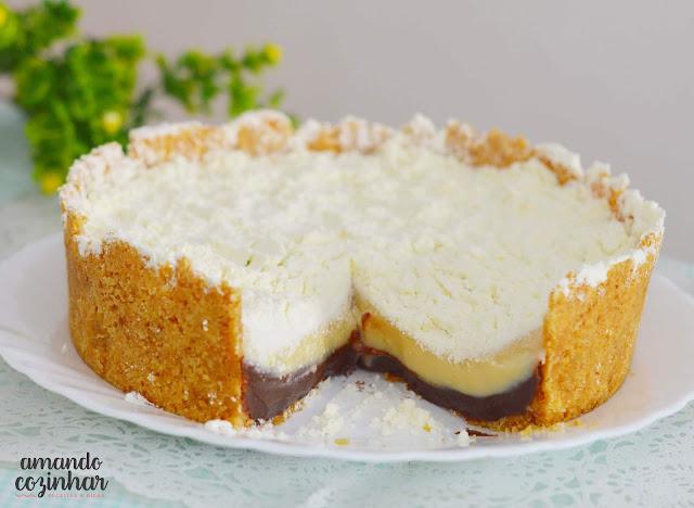 Torta trufada de leite ninho e chocolate