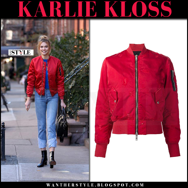 Karlie Kloss in red satin bomber jacket from Unravel what she wore celebrity style