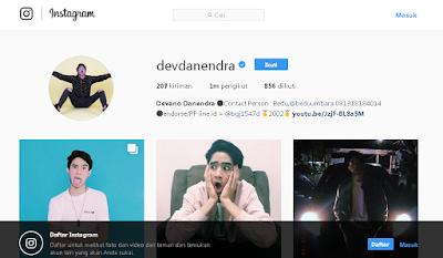 Akun Instagram Devano Danendra
