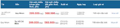 Bảng giá vé máy bay tết 2016 đi Quy Nhơn
