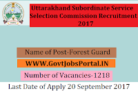 Uttarakhand Subordinate Service Selection Commission Recruitment 2017– 1218 Forest Guard