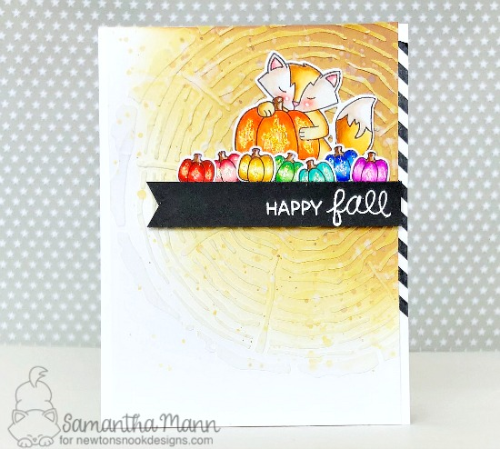 Fall woodland fox card by Samantha Mann   Harvest Tails Stamp Set and Tree Rings Stencil by Newton's Nook Designs #netwonsnook #handmade
