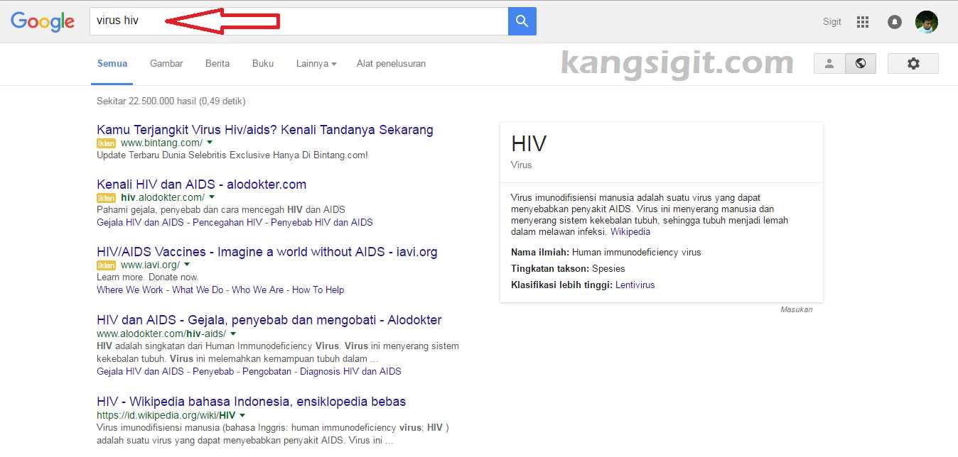 Pencarian dengan keyword Virus HIV