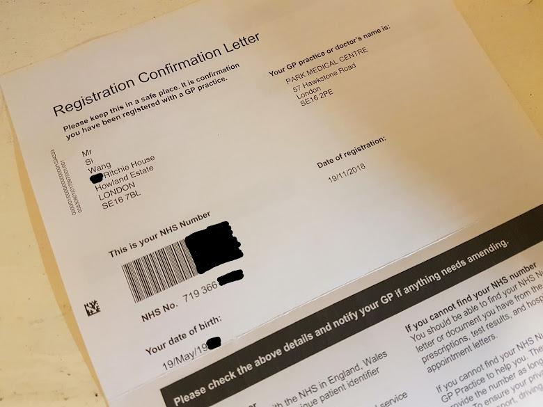NHS 註冊確認信