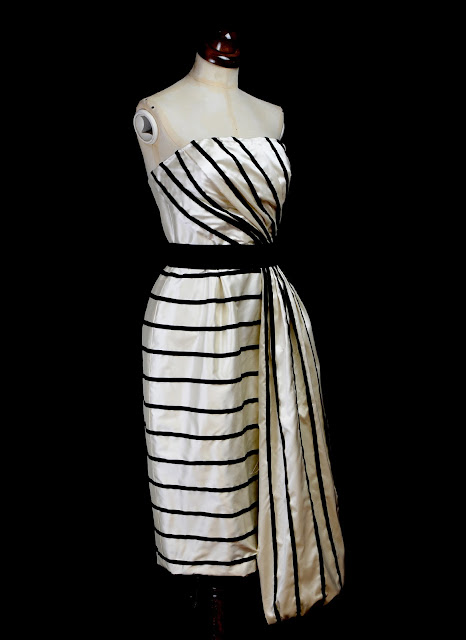 monochrome stripe silk dress