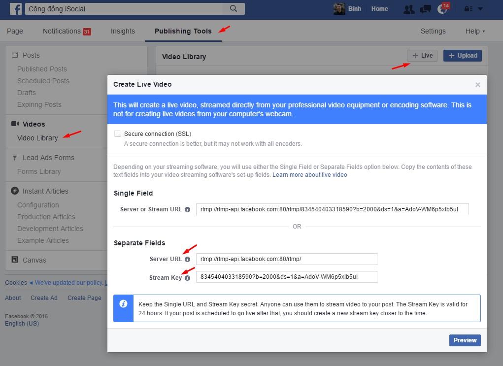 Live Stream Facebook trên Máy tính