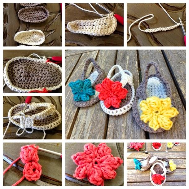 Paso a paso de Sandalias con flor para bebé al crochet