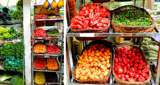 Variedade de pimentas na Ceasinha de Salvador