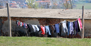 Washing hung out to dry