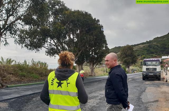 Comienzan las obras de repavimentación de la antigua carretera LP-1 en Puntallana