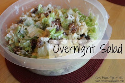 Overnight Salad - a perfect spring salad to bring to your next gathering or potluck #Celebrate365