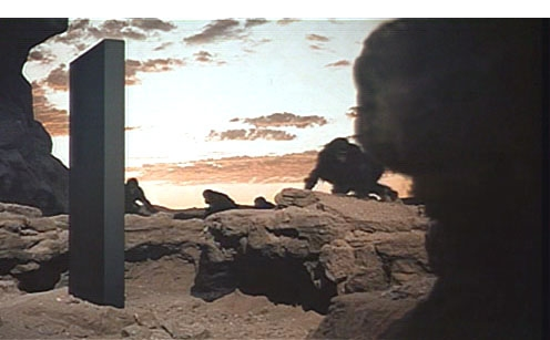 The apes confront the Monolith in the Dawn of Man scene in 2001: A Space Odyssey movieloversreviews.filminspector.com