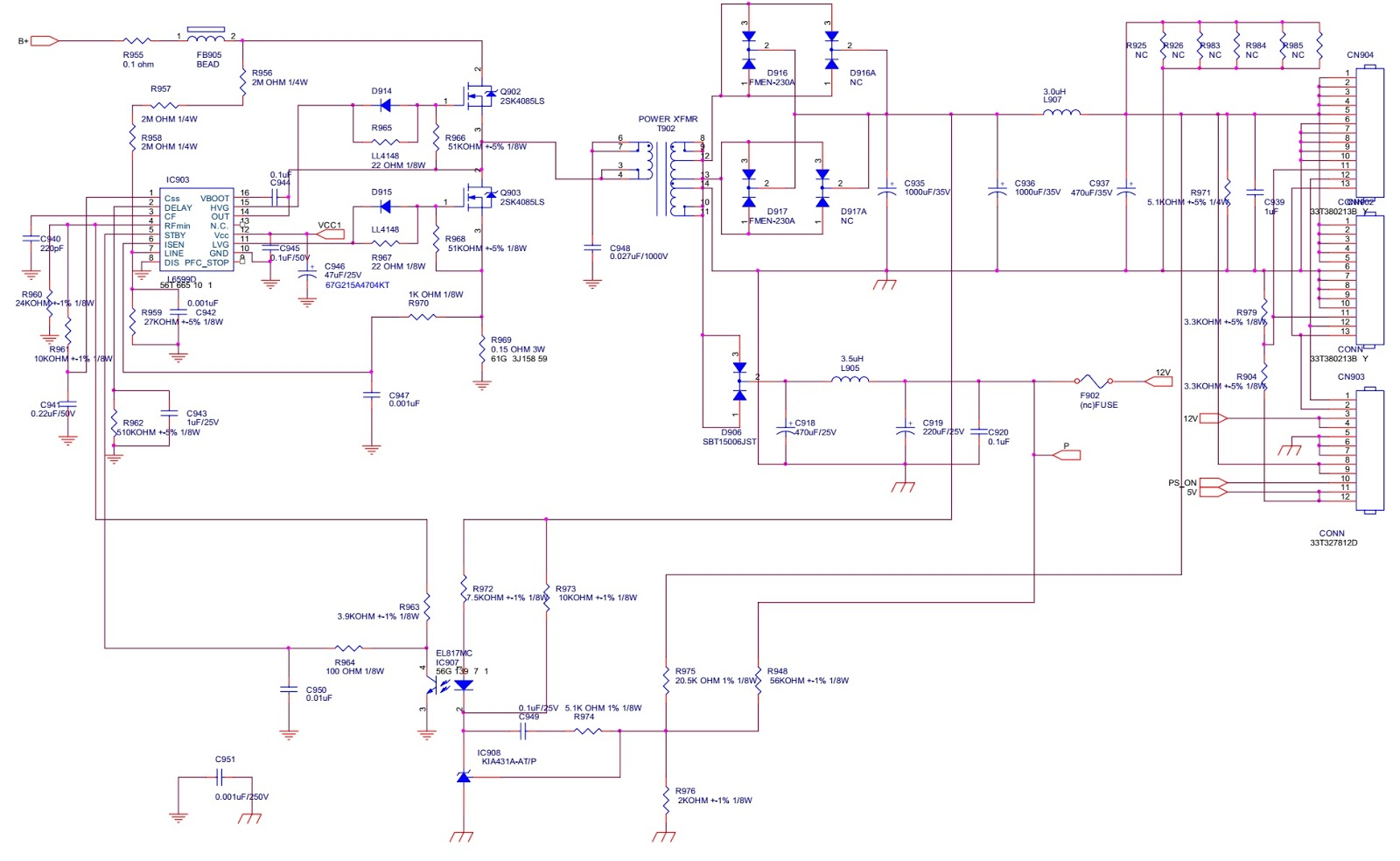 715t2802f Aoc L47h861 Lcd Tv Power Supply Schematic Factory Mode Universal Remote Circuit Smps Diagram Four Digit