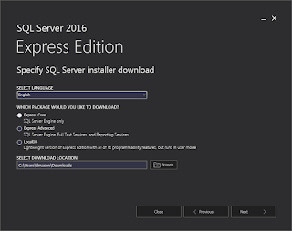 SQL Server Express 2016 - Which package to download
