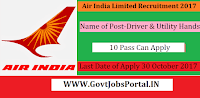 Air India Recruitment 2017–75 Driver & Utility Hand