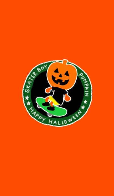 Halloween pumpkin skater boy