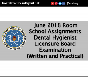 Legazpi - June 2018 Room School Assignments - Dental