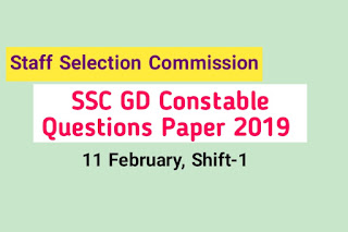 SSC GD Constable 2019 Questions Paper PDF