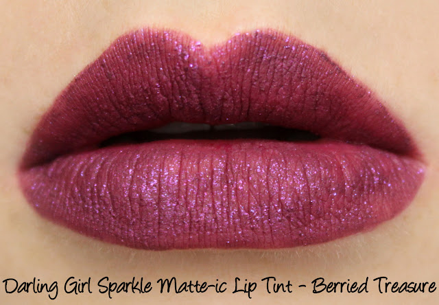 Darling Girl Sparkle Matte-ic Lip Tint - Berried Treasure Swatches & Review